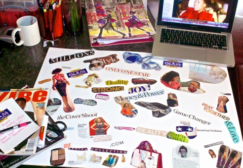 WORKING ON MY VISION BOARD